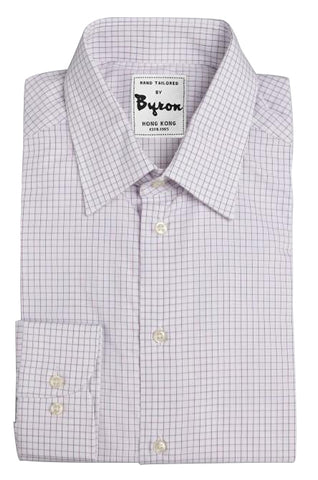 Lt. Grey Gingham Shirt, Forward Poing Collar, Rounded Cuff