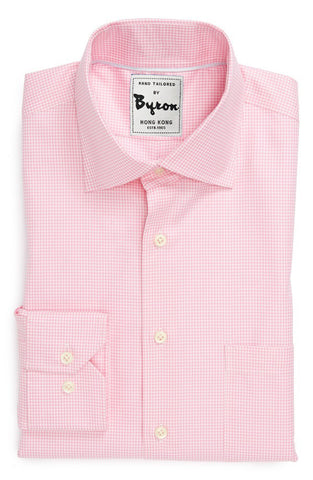 Lt. Pink Micro Check Shirt, English Spread Collar, Angled Cuff