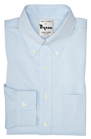 Lt Blue Solid Shirt, Button Down Collar, Angled Cuff