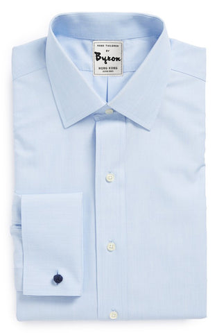 Light Blue Shirt with Forward Point Collar, French Cuffs
