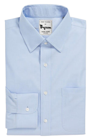 Lt Blue Solid Shirt, Medium Spread Collar, Rounded Cuff