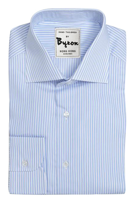 Skyblue Striped Shirt, Medium Spread Collar, Angled Cuff