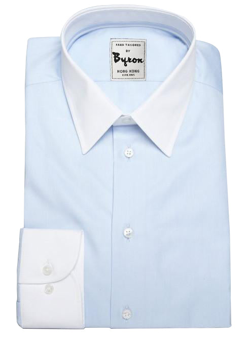 Lt Blue Shirt with White Forward Point Collar and White Angled Cuff