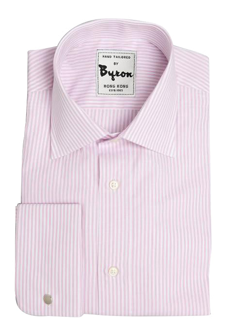 Light Pink Striped Shirt, Medium Point Collar, French Rounded Cuff
