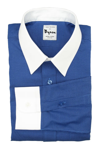 Midnight Blue shirt with white collar and cuff