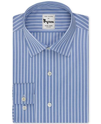 Blue and White Striped Shirt Forward Point Collar Standard Cuff