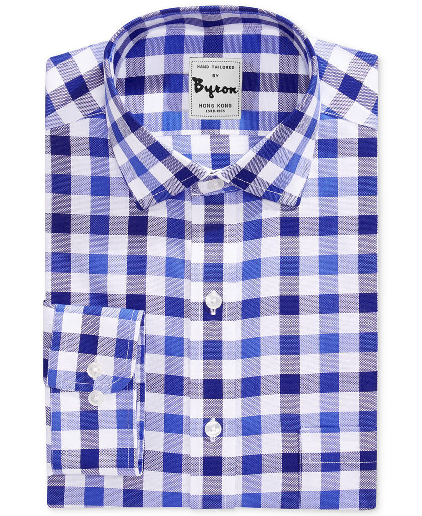 Navy & Blue Gingham Shirt Forward Point Collar Rounded Cuff