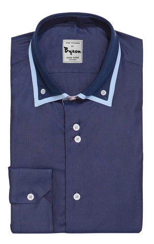 Navy Blue Shirt with Pastel Blue Trim Collar