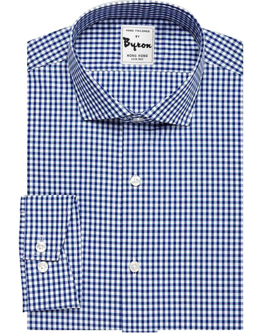 Navy Gingham Shirt English Spread Collar Angled Cuff