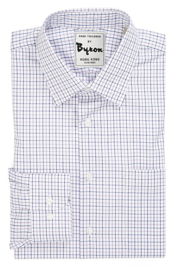 Navy & Lt. Grey Gingham Shirt, Forward Point Collar, Angled Cuff