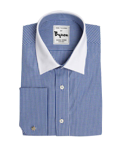 Navy Micro Check Shirt with White Collar