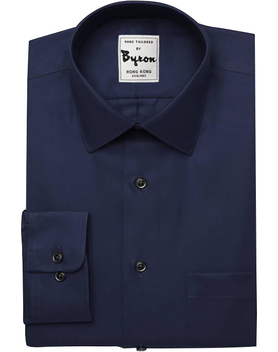 Navy Blue Solid Shirt, Hidden Button Down Collar, Round Cuff