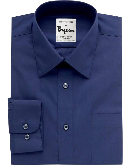 Navy Solid Shirt, Medium Point Collar, Rounded Cuff