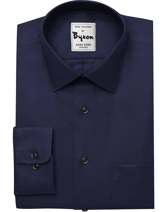 Navy Solid Shirt, Forward Point Collar, Round Cuff
