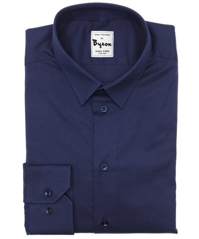 100% Cotton Navy Solid Shirt Narrow Forward Point Collar Angle Cuff