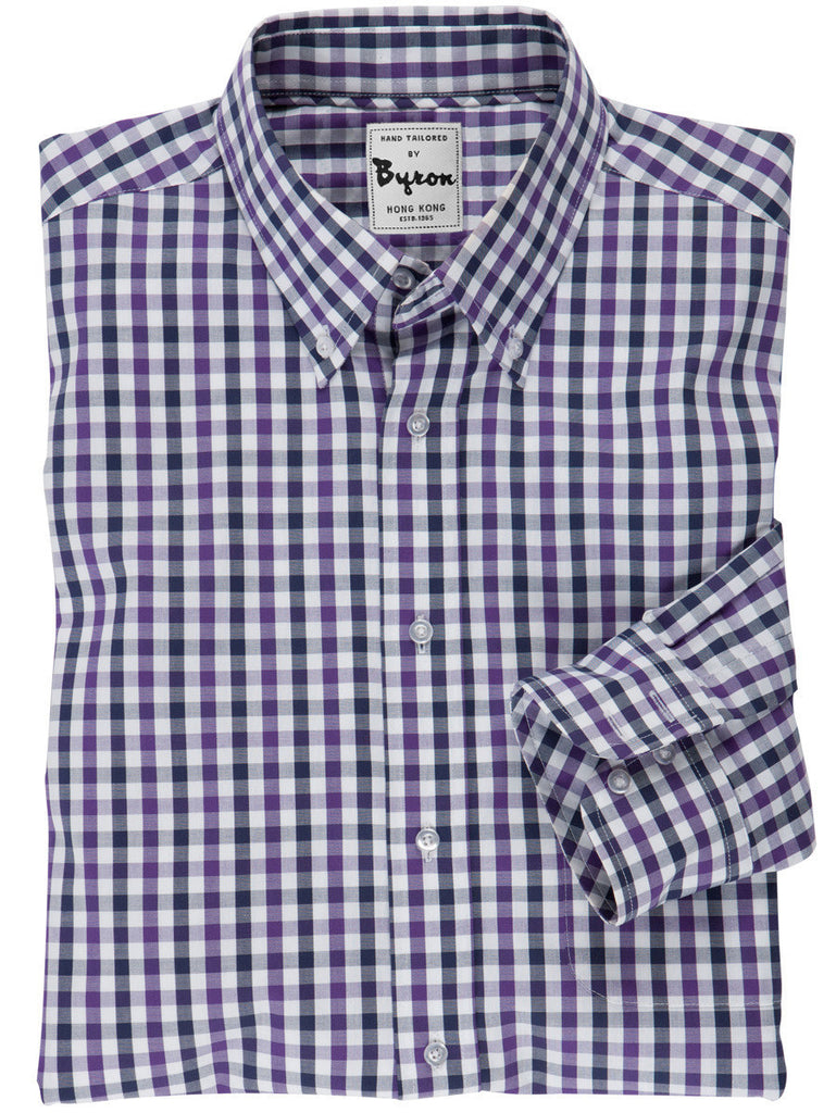 Navy and Lavender Gingham Check Shirt