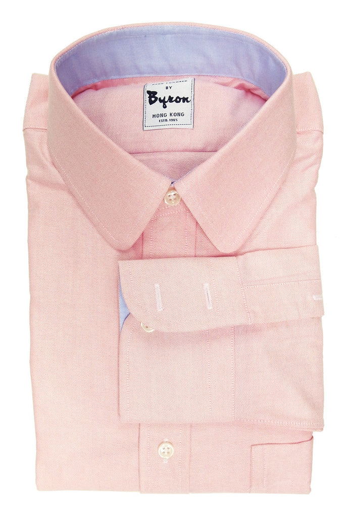 Pink Oxford Shirt, Round Club Collar, Blue Trim on Collar and Cuff