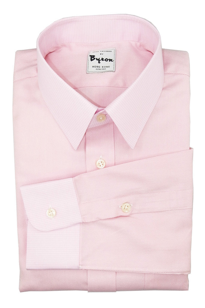 Pink Doby Shirt with Micro Check Pink Collar and Cuff