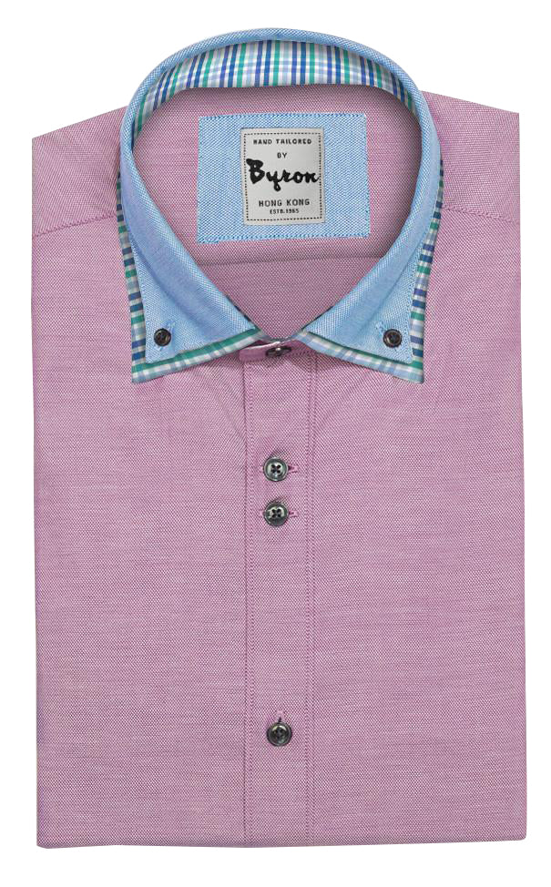 Pink & Lt.Blue Collar with Checks, Double Collar, Standard Cuff