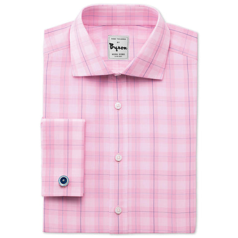 Pink Self Exploded Check Shirt White Medium Spread Collar French Cuff