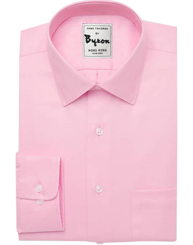 Pink Solid Shirt, Forward Point Collar, Round Cuff