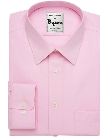 Pink Solid Shirt 02, Forward Point Collar, Round Cuff