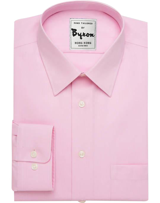 Pink Solid Shirt 03, Forward Point Collar, Round Cuff