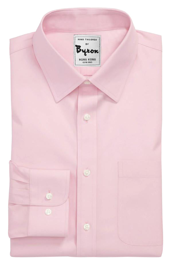 Pink Solid Shirt 04, Forward Point Collar, Round Cuff
