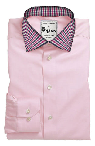 Pink Solid Shirt with Check Collar