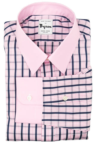 Pink and Blue Large Check with  Pink Collar and Cuff