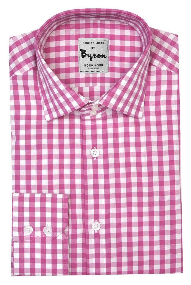 Pink and White Gingham Check Shirt, Wide Spread Collar, Angled Cuff