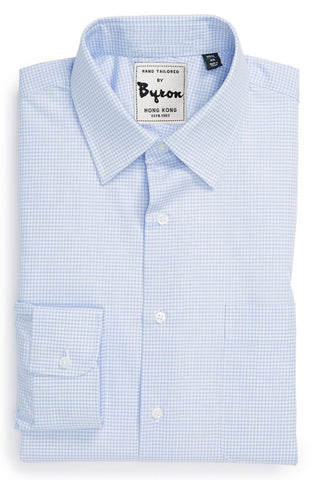 Powder Blue Micro Check Shirt, Forward Point Collar, Rounded Cuff