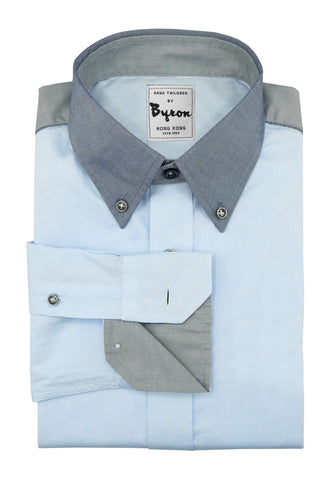 Powder Blue Shirt with Navy Chambre Collar and Grey Trim