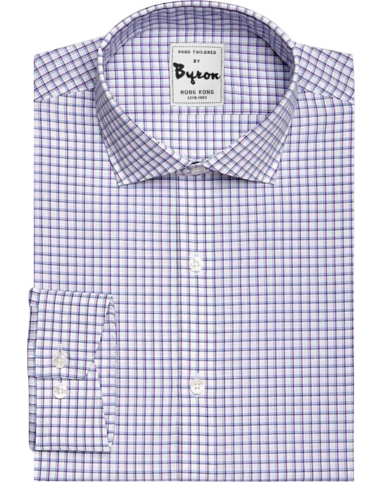 Purple Gingham Shirt English Spread Collar Angled Cuff