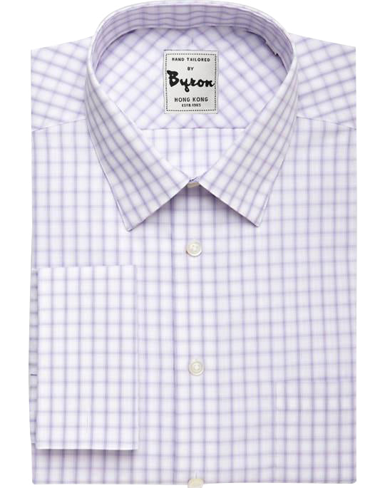 Purple Gingham Shirt, Forward Point Collar, French Cuff