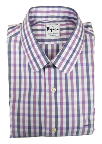 Purple Grey Check Shirt, Rounded Collar, Rounded Cuff