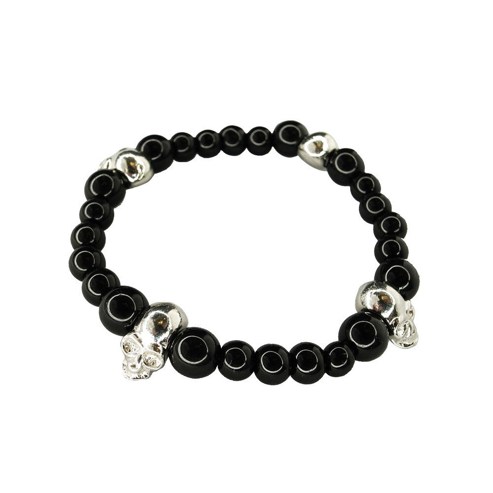 Black Onyx Beaded Bracelet with Skull Moto