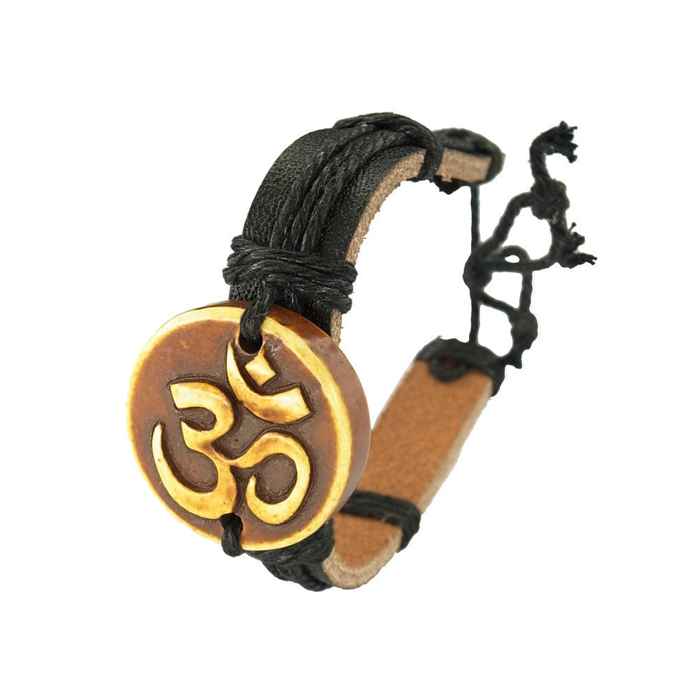 Wooden Carved Charm on Leather Bracelet