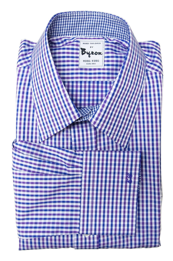 Purple Blue Gingham Check Shirt, with Micro Blue Trim, Monogrammed Cuff