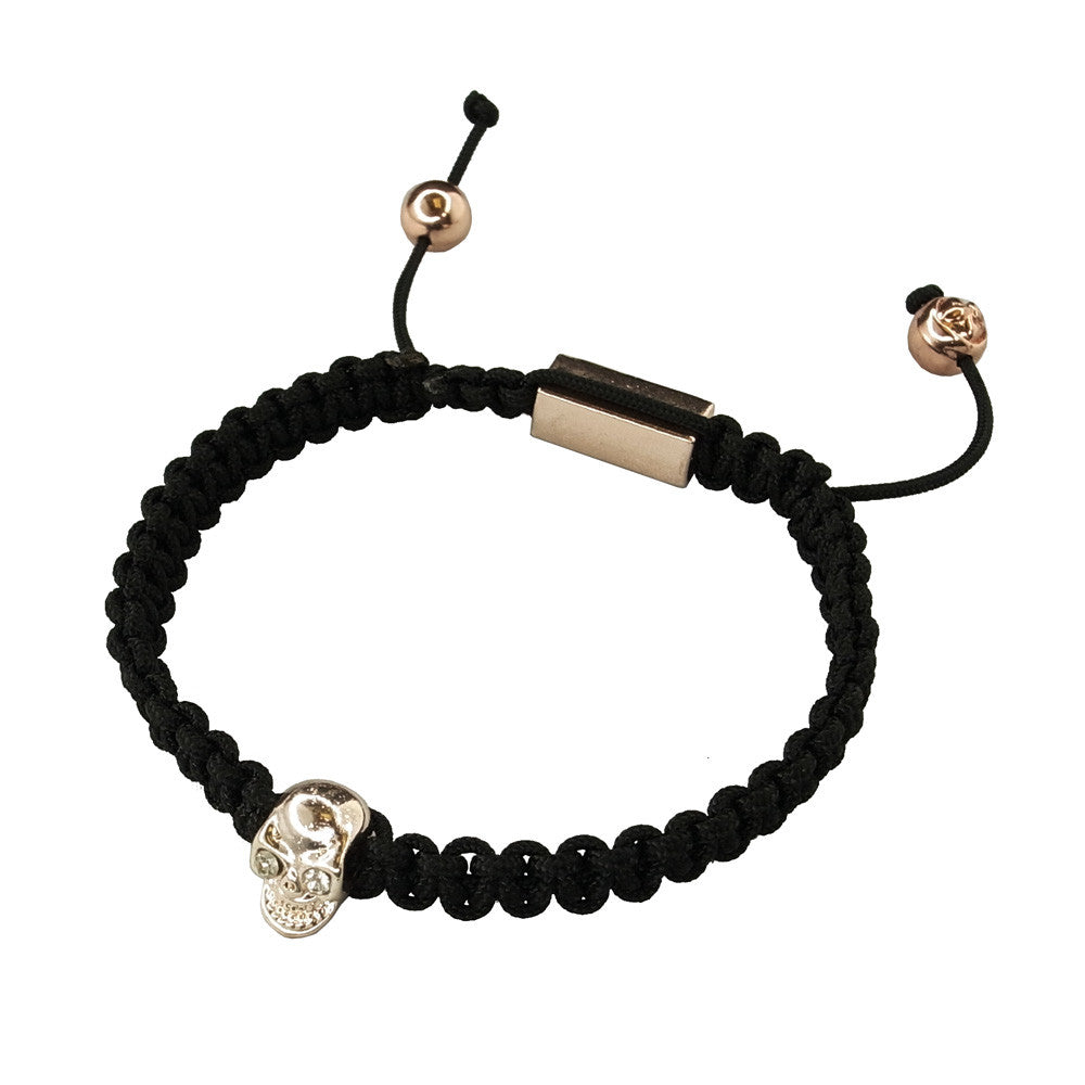 Rose Gold Plated Skull On Woven Bracelet