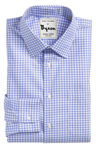 Royal Blue Gingham Shirt, Medium Spread Collar, Standard Cuff
