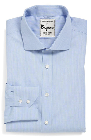 Sky Blue Shirt, English Spread Collar, Angled Cuff