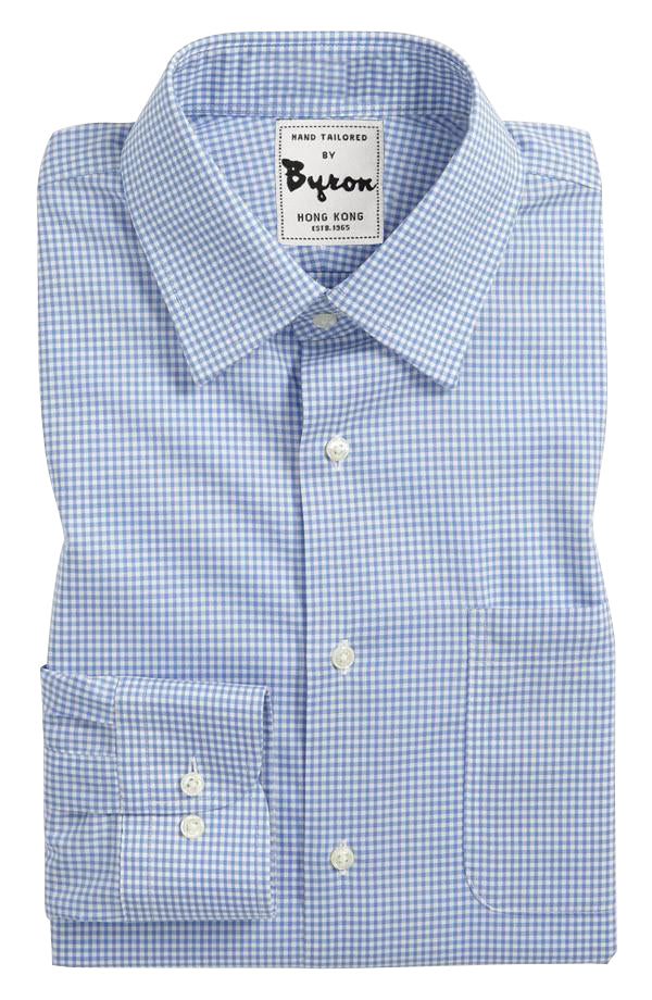 Blue Gingham Check Shirt, Medium Spread Collar, Round Cuff