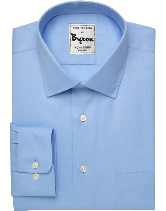 Skyblue Solid Shirt, Wrinkle Free, Medium Spread Collar, Rounded Cuff