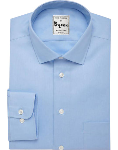 Skyblue Solid Shirt, Medium Spread Collar, Rounded Cuff