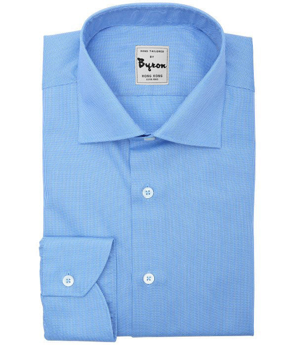 Skyblue Solid Shirt Medium Spread Collar Rounded Cuff
