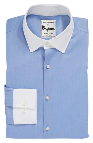 Skyblue Shirt with White Collar and Cuffs Shirt, Plain Front