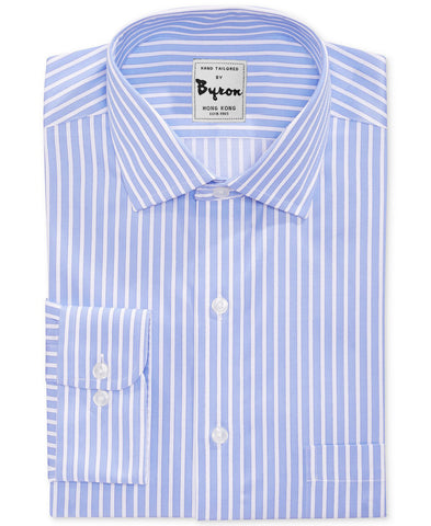 Skyblue X White Striped Shirt Forward Point Collar Rounded Cuff