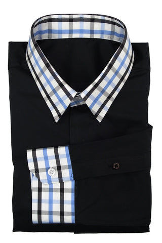 Solid Black Shirt with  Blue Black Check Collar and Cuff