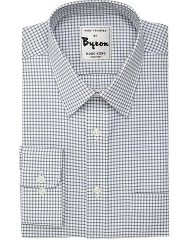 Steel Grey Gingham Shirt, Forward Point Collar, Angled Cuffs